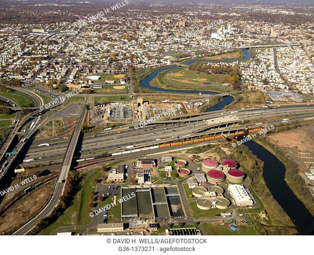 Aerial views of area around Newark, New Jersey, United States