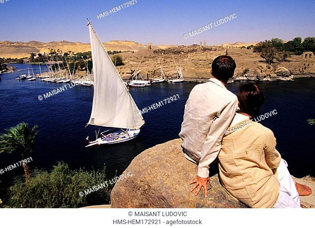Egypt, Upper Egypt, Aswan, View of Nile River from Old Cataract Hotel