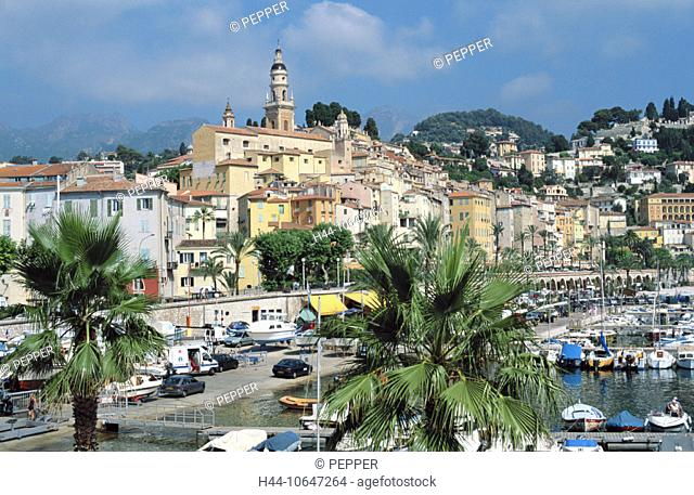 10647264, Old Town, Cote d'Azur, France, Europe, harbour, port, Menton, palms