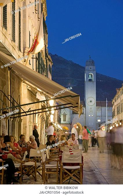 Croatia, Southern Dalmatia, Dubrovnik, Old Town, the Placa, cafe