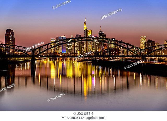 Germany, Hessia, the Rhine Main region, Frankfurt am Main, Ostend, skyline, Deutschherrenbrücke (bridge), light fair Luminale, View from east harbour bridge