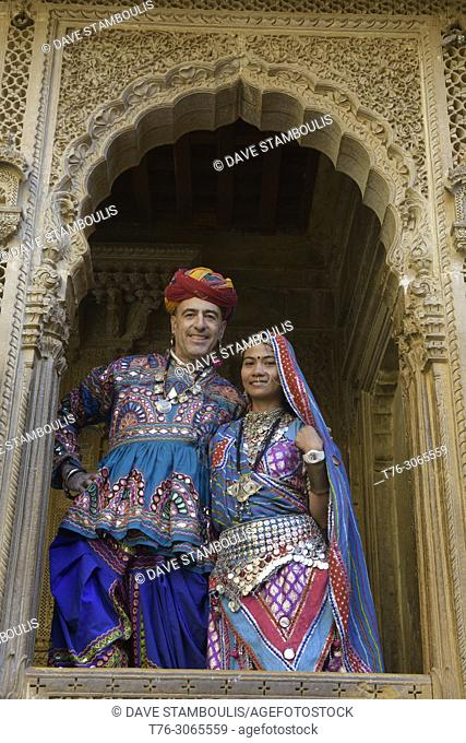 Dressed like royalty at the sandstone carved Patwon Ji Ki Haveli, Jaisalmer, Rajasthan, India