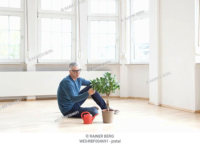 Man sitting on floor with plant in empty apartment