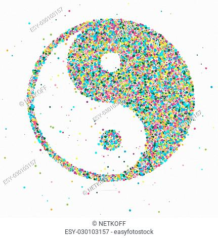 Ying yang symbol of harmony and balance, consisting of colored particles
