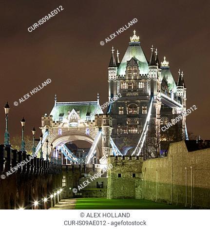 View of Tower Bridge at night, London, United Kingdom