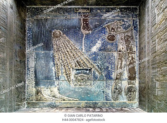 Dendera Egypt, temple dedicated to the goddess Hathor. View of the hypostyle hall. The goddess Nut in the ceiling before cleaning