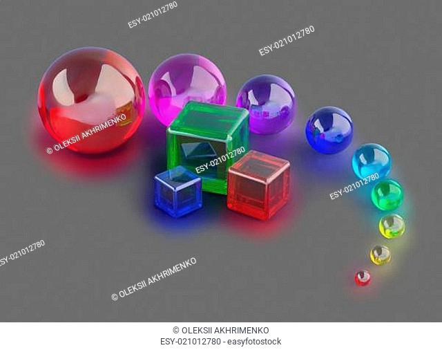 glass cubes and colorful marble balls