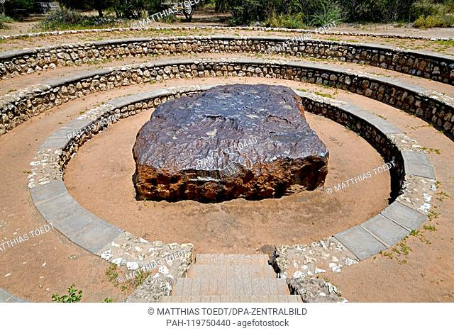 View of the Hoba meteorite near Grootfontein, taken on 06.03.2019. The Hoba meteorite is the largest meteorite ever found in the world, which struck around 80