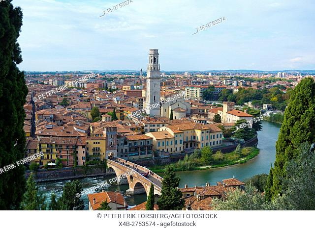 Elevated view, with cathedral tower, Centro storico, Verona, Veneto, Italy
