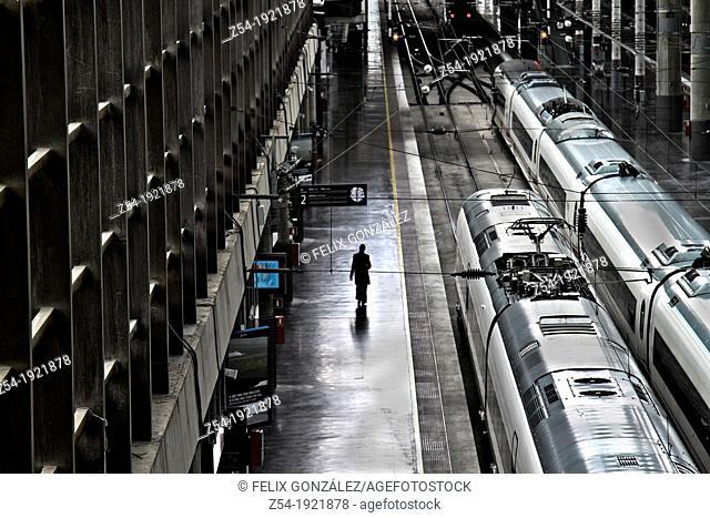 Passanger at Atocha railway station, Madrid, Spain