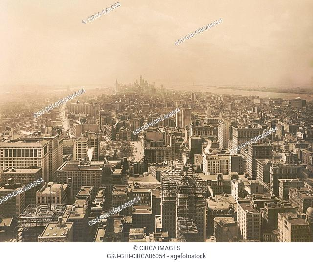 Cityscape South from Metropolitan Tower, New York City, New York, USA, 1912