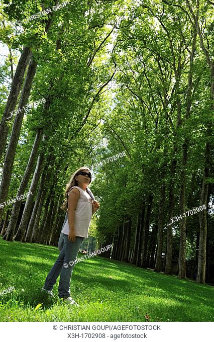 little girl in one of the Path of The Gardens of Versailles, Yvelines departement, France, Europe