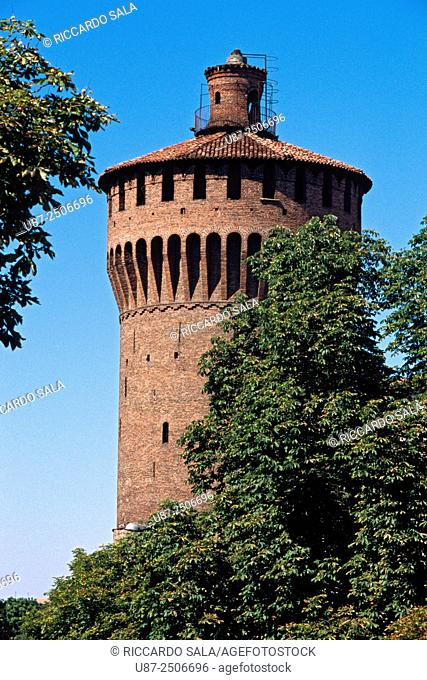 Italy, Lombardy, Lodi, Visconteo Castle Tower.
