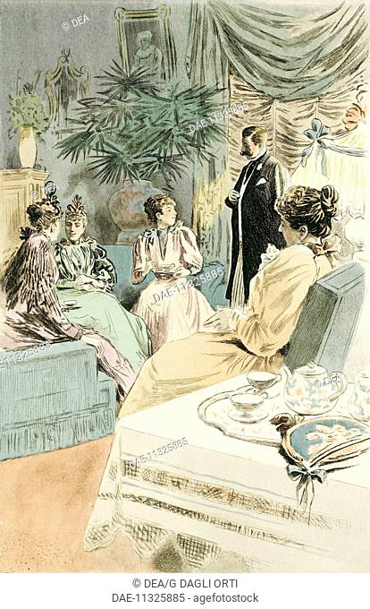 Tea at five, 1894, painting by Pierre Vidal (1849-1929), engraving by Frederic Masse, from La Femme a Paris, nos contemporaines, by Octave Uzanne (1851-1931)
