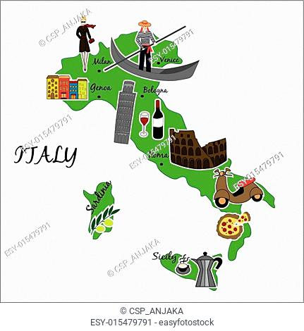 map of Italy with typical features