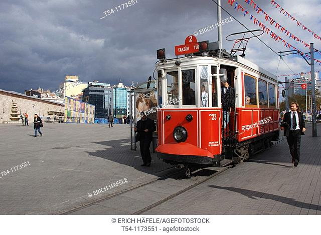 Historical Tram in Istanbul-Taksim Place
