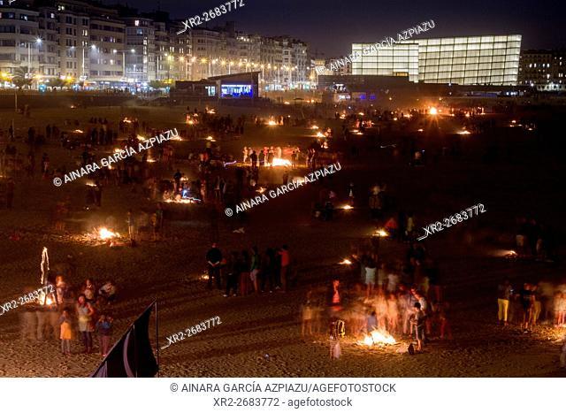 San Juan festival held on 23th June to celebrate the summer solstice, Donostia (San Sebastian), Basque Country, Spain