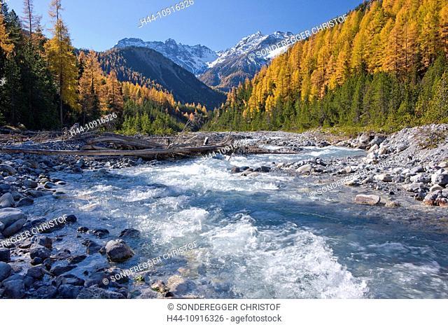 Autumn, canton, Graubünden, Grisons, Switzerland, Europe, mountain, mountains, cliff, rock, mountains, Swiss national park, park, nature, river, flow, brook
