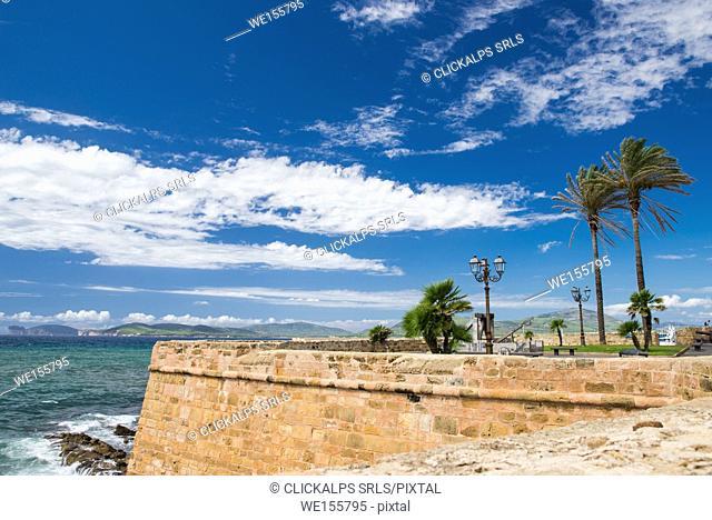 Alghero walls, Sassari province, sardinia, italy, europe