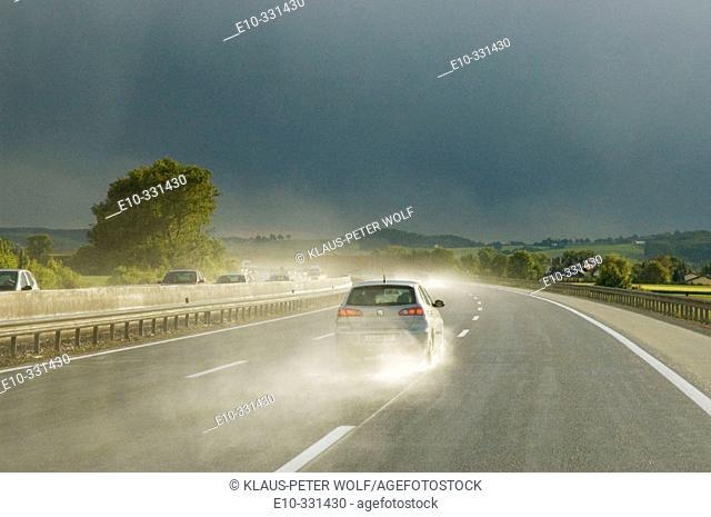 Driving in bad weather on the motorway Autobahn A1 from Vienna to Salzburg. Austria
