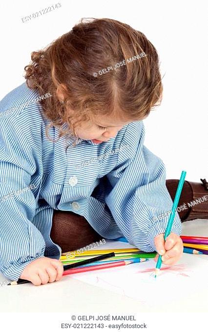 Beautiful girl with preschool uniform painting