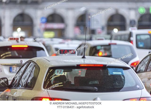 Taxi cabs at Termini railway station, Rome, Lazio, Italy
