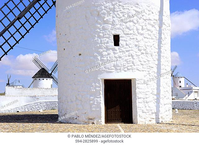 Detail of a windmill in a square of Campo de Criptana, Ciudad Real, Spain