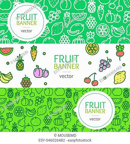 Vegan Banner Flyer Horizontal Set Thin Line Pixel Perfect Art. Material Design. Vector illustration