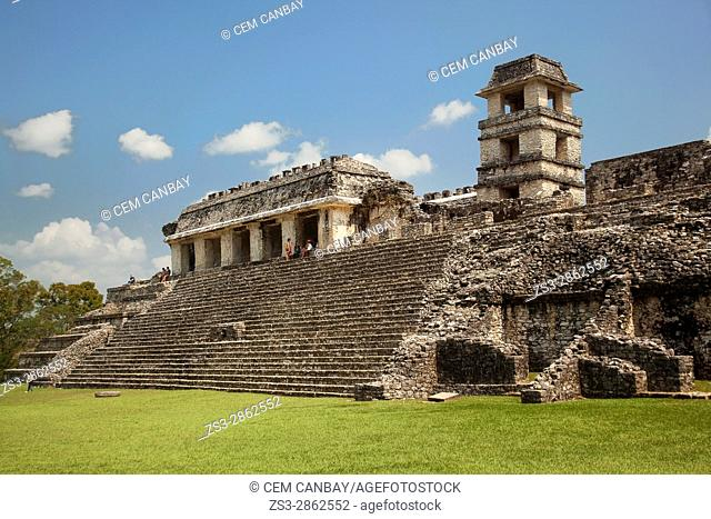 Visitors at the stairs in front of the Palace-El Palacio in Palenque Archaeological Site, Palenque, Chiapas State, Mexico, Central America