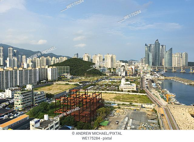 Views of Centum city glass towers from elevated viewpoint in KwangAn Gwangalli Beach area, Busan city, Yeongnam, South Korea