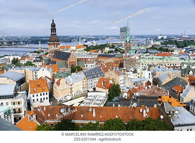 Riga old town from St. Peter's Church. The Riga Dome Cathedral bell tower and St. James's Cathedral spire stand out. Riga, Latvia, Baltic states, Europe