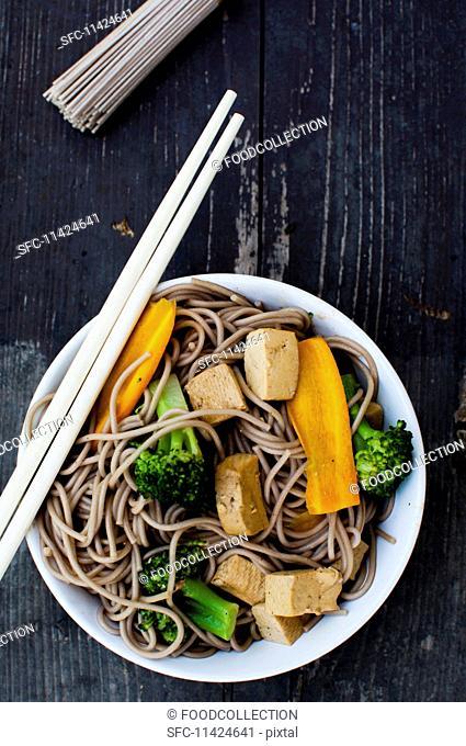 Yaki Soba (stir-fried soba noodles, tofu, broccoli and carrots, Japan)
