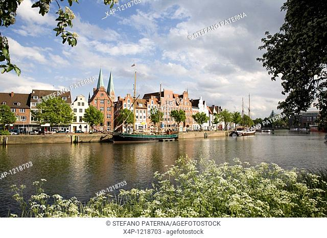Holstenharbour, Trave River, Luebeck, Germany