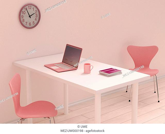 Pink home office, 3D Rendering