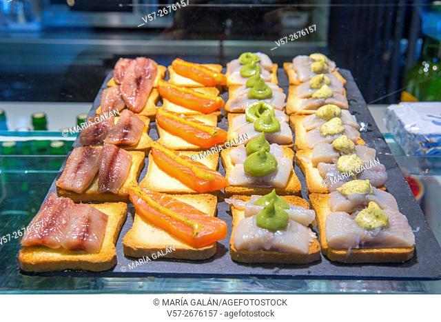 Assorted tapas. San Anton market, Madrid, Spain