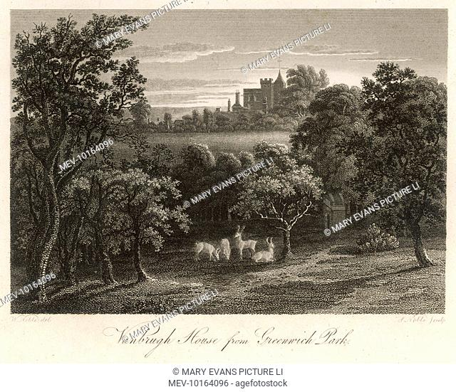 A view of Vanbrugh House from Greenwich Park, with free roaming deer