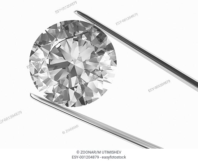 Close-up view on diamond in tweezers isolated on w