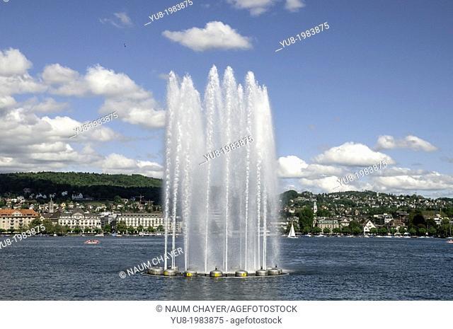 Fountain on Lake Zurich, Switzerland, federal republic, Western Europe