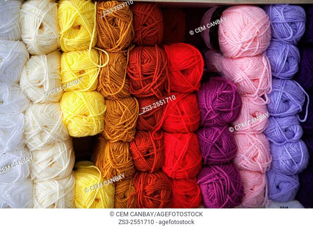 Balls of colored wool thread in shop, Ermoupolis, Syros, Cyclades Islands, Greek Islands, Greece, Europe