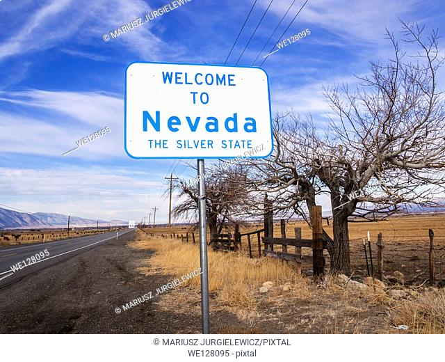 Welcome sign at California-Nevada State Line on highway 88