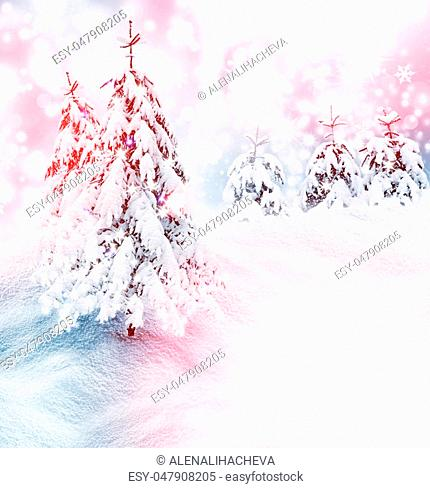 Frozen winter forest with snow covered trees