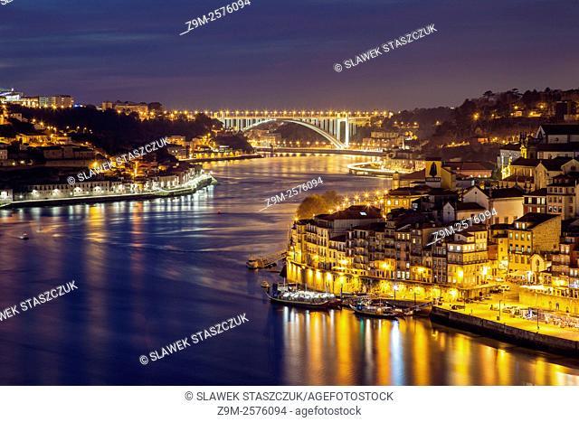 Evening in Porto. Looking towards Arrabida Bridge