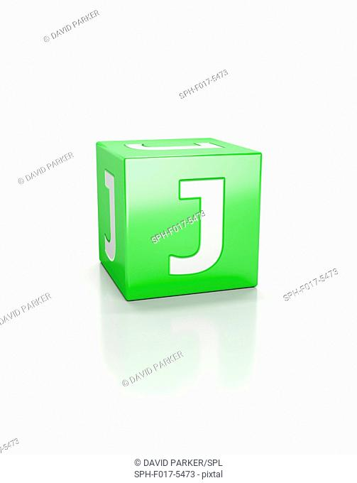 Green cube with letter J