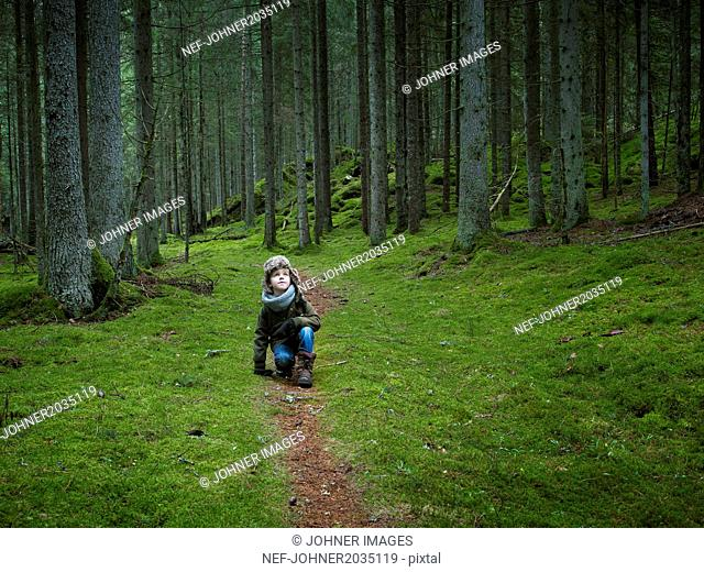 Boy in forest
