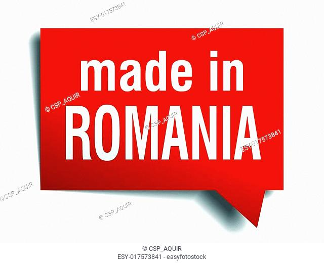 made in Romania red 3d realistic speech bubble isolated on white background