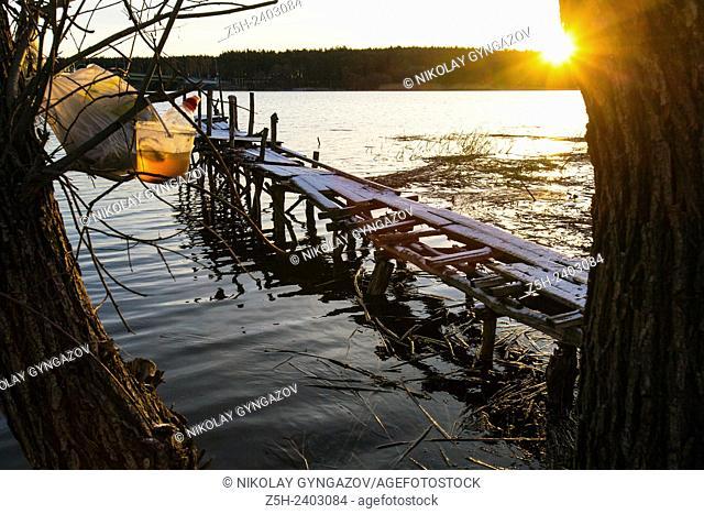 Russia. Belgorod region. On the shore of the reservoir Belgorod. Dawn