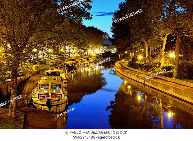 Boats in the Canal of La Robine, Narbonne, Languedoc-Roussillon, France
