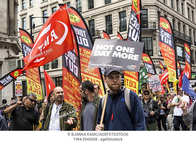 RMT Union at Not One Day More - Tories Out National Demonstration, an Anti-Government and Teresa May protest organised by an anti-austerity campaign group The...
