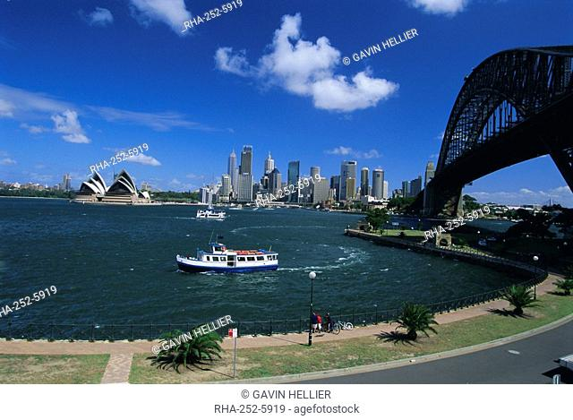 Sydney Harbour Bridge and city skyline, Sydney, New South Wales, Australia