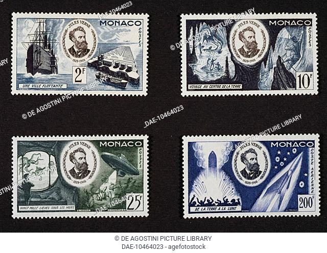 Postage stamps from the series commemorating the 50th anniversary of the death of Jules Verne (1828-1905), depicting his novels, A Floating City